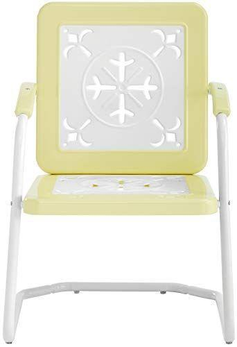 """<p><strong>Crosley Furniture</strong></p><p>amazon.com</p><p><strong>141.60</strong></p><p><a href=""""https://www.amazon.com/dp/B07FQPVYKH?tag=syn-yahoo-20&ascsubtag=%5Bartid%7C10050.g.32700041%5Bsrc%7Cyahoo-us"""" rel=""""nofollow noopener"""" target=""""_blank"""" data-ylk=""""slk:Sit a Spell"""" class=""""link rapid-noclick-resp"""">Sit a Spell</a></p><p>But seriously: Doesn't this look just like a butter-y yellow chair you'd snatch up in a heartbeat at an estate sale? The sweet cutouts add dainty charm. (Also available in light blue and red.)</p>"""
