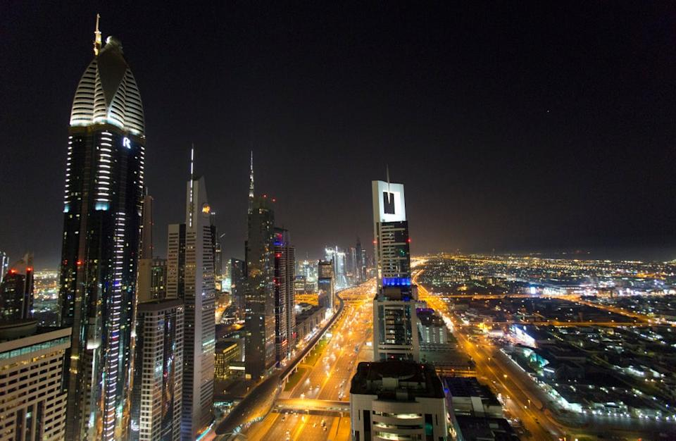 A view of the skyline at night of Dubai (PA)