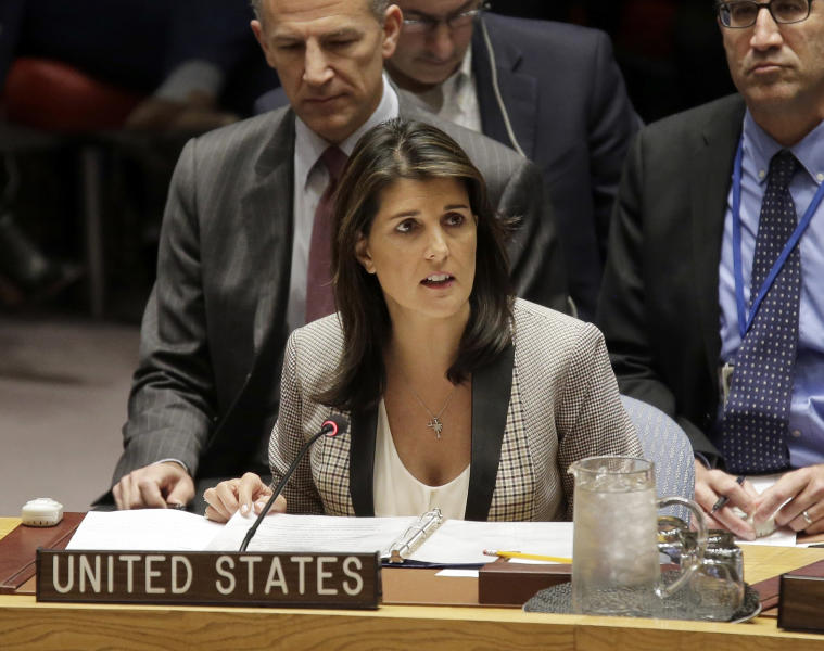 FILE-In this Monday, Nov. 26, 2018 file photo, United States Ambassador to the United Nations Nikki Haley speaks during a security council meeting at United Nations headquarters. President Donald Trump's former U.N. ambassador, Nikki Haley , alleges in her upcoming memoir that two top administration officials, then-Secretary of State Rex Tillerson and then-White House chief of staff John Kelly, tried to enlist her in opposing some of Trump's policies.  (AP Photo/Seth Wenig, File)
