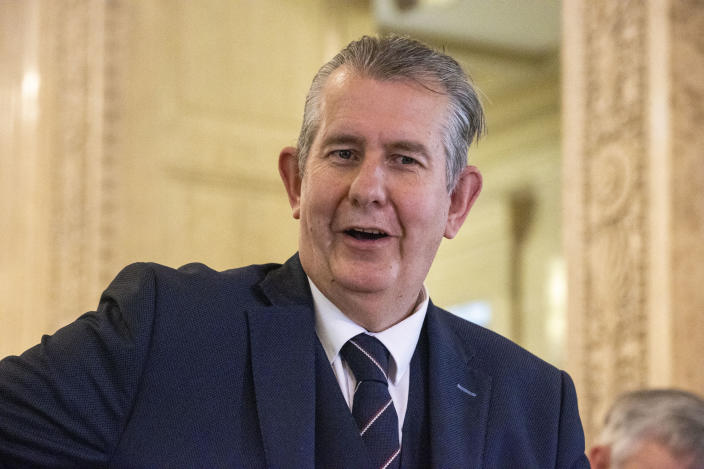 Leader of the DUP Edwin Poots at Stormont to announce his first ministerial team, in Belfast, Northern Ireland, Tuesday June 8 2021. Religious conservative from the party's traditionalist wing Edwin Poots won a two-person contest Friday to lead the Democratic Unionist Party, the senior partner in Northern Ireland's Catholic-Protestant power-sharing government. (Liam McBurney/PA via AP)