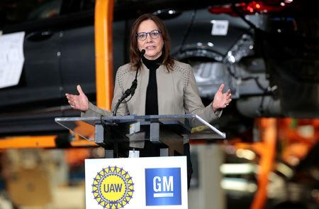 General Motors Chief Executive Officer Mary Barra announces a major investment focused on the development of GM future technologies at the GM Orion Assembly Plant in Lake Orion, Michigan, U.S. March 22, 2019.  REUTERS/Rebecca Cook