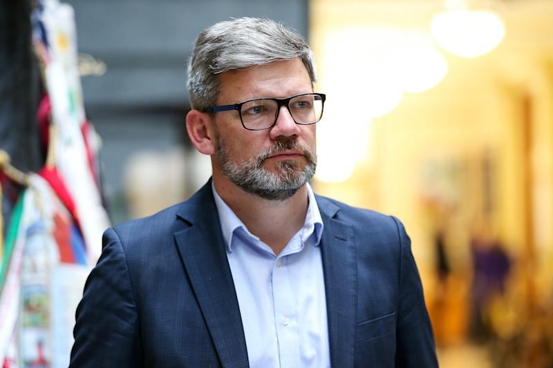 Photo shows sacked Workplace Relations and Safety Minister Iain Lees-Galloway.
