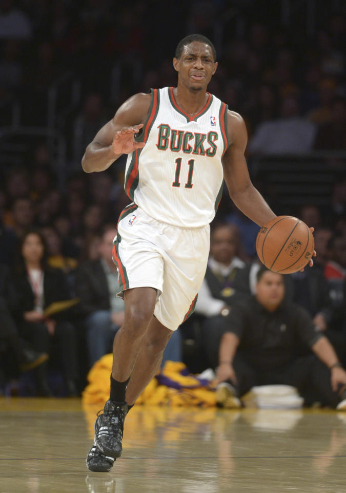 Dec 31, 2013; Los Angeles, CA, USA; Milwaukee Bucks guard Brandon Knight (11) dribbles the ball against the Los Angeles Lakers at Staples Center. The Bucks defeated the Lakers 94-79. (Kirby Lee-USA TODAY Sports)