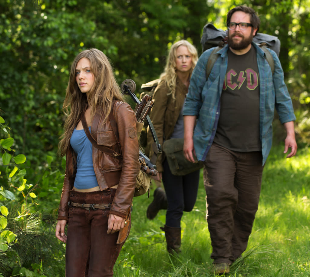 """Tracy Spiridakos as Charlie, Anna Lise Phillips as Maggie and Zak Orth as Aaron in """"Revolution"""" on NBC."""