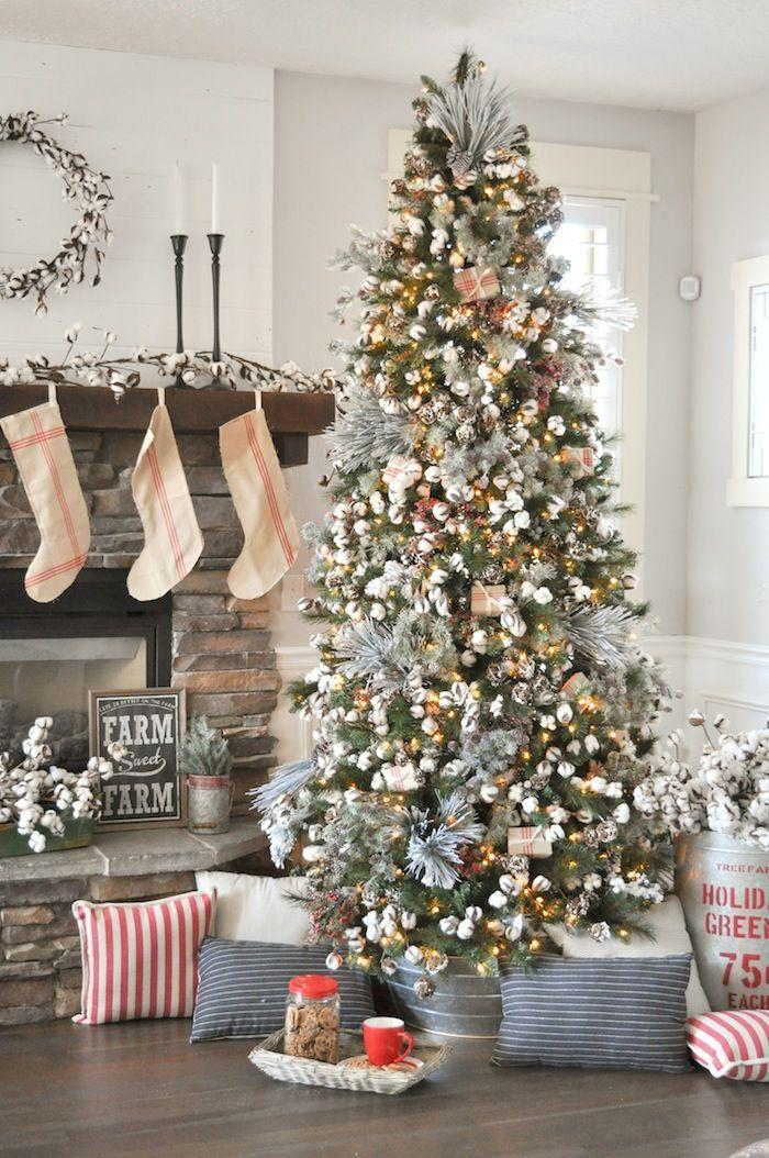 """<p>Go for a rustic look with this farmhouse Christmas tree. All you need are some cotton picks, pine cones, tree sprigs, and holly. </p><p><strong><em>Get the tutorial at <a href=""""https://karaspartyideas.com/2017/11/farmhouse-christmas-tree-michaels-dream-tree-challenge-2017.html"""" rel=""""nofollow noopener"""" target=""""_blank"""" data-ylk=""""slk:Kara's Party Ideas"""" class=""""link rapid-noclick-resp"""">Kara's Party Ideas</a></em></strong><strong><em>.</em></strong></p><p><a class=""""link rapid-noclick-resp"""" href=""""https://www.amazon.com/CEWOR-Natural-Farmhouse-Furniture-Decoration/dp/B07G5ZWSKD/?tag=syn-yahoo-20&ascsubtag=%5Bartid%7C10070.g.2025%5Bsrc%7Cyahoo-us"""" rel=""""nofollow noopener"""" target=""""_blank"""" data-ylk=""""slk:BUY COTTON PICKS"""">BUY COTTON PICKS</a></p>"""