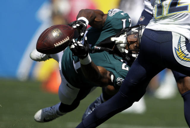 <p>Philadelphia Eagles defensive back Patrick Robinson can't make the interception during the first half of an NFL football game against the Los Angeles Chargers Sunday, Oct. 1, 2017, in Carson, Calif. (AP Photo/Jae C. Hong) </p>