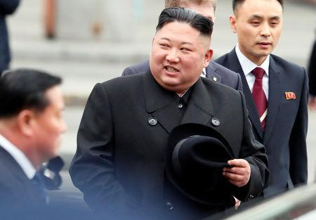 North Korean leader Kim Jong Un arrives at the railway station in the Russian far-eastern city of Vladivostok, Russia. (REUTERS)
