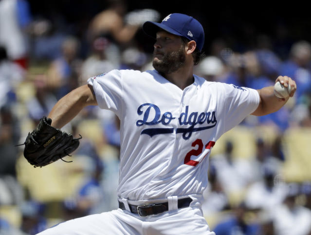 Los Angeles Dodgers starting pitcher Clayton Kershaw threw five strong innings in his second start back from the disabled list Thursday. (AP Photo)