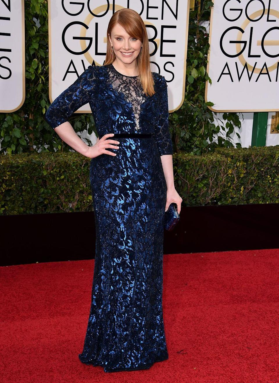 """<p>The <em>Jurassic World</em> star revealed that she had to buy her own gown for the 2016 Golden Globes as there weren't enough designers who could lend her one in her size.</p><p>""""I like having lots of options for a size 6 [a UK size 10] as opposed to maybe one option so I always go to department stores,"""" the actress told<em> <a href=""""http://www.eonline.com/uk"""" rel=""""nofollow noopener"""" target=""""_blank"""" data-ylk=""""slk:E!"""" class=""""link rapid-noclick-resp"""">E!</a></em>. <br></p><p>She bought her metallic blue Jenny Packham gown from Neiman Marcus. </p>"""