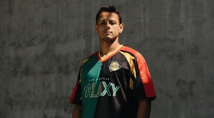 """Javier """"Chicharito"""" Hernández wearing one of the Galaxy's Since '96 shirts."""