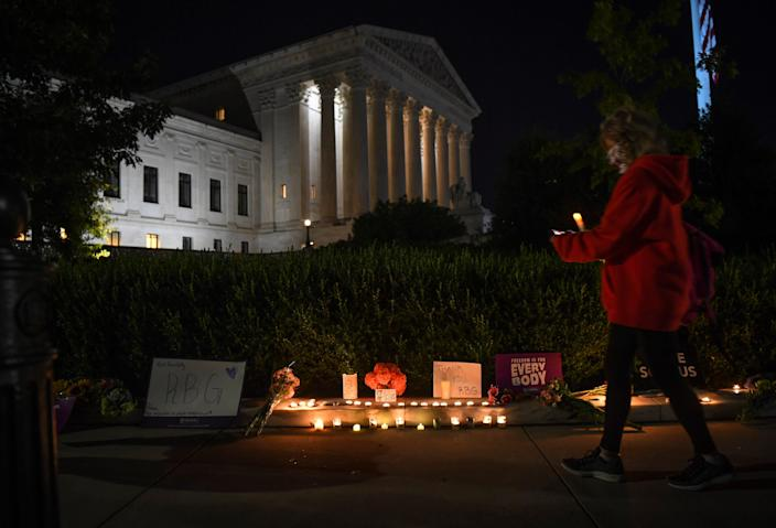 Candlelight vigil outside the U.S. Supreme Court building in Washington, D.C. honoring Justice Ruth Bader Ginsburg on September 19, 2020.