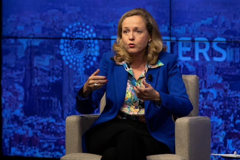 Nadia Calvino, Minister for Economy and Business of Spain speaks during a Reuters Newsmaker in New York