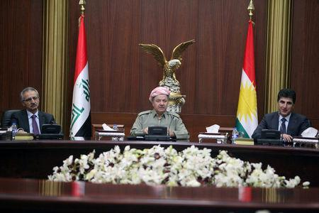 Iraqi Kurdish president Masoud Barzani (C) meets with heads of the Independent High Referendum in Erbil, Iraq September 24, 2017. REUTERS/Azad Lashkari