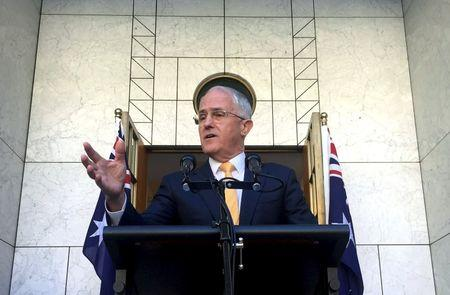Australian Prime Minister Turnbull speaks during a media conference at Parliament House in Canberra, Australia