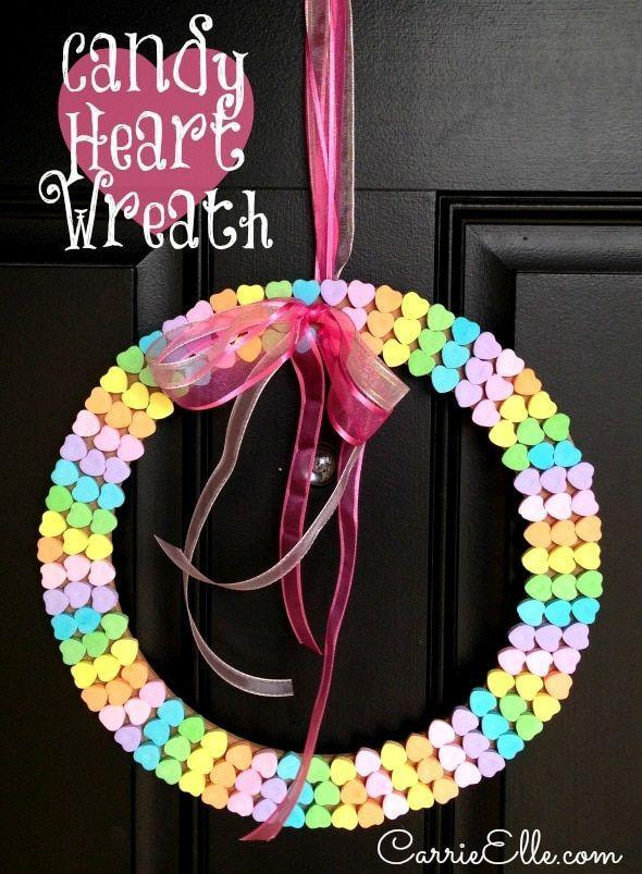 """<p>Even if you don't love the taste of the classic candy hearts, you'll love this rainbow wreath. Your kids can lend a hand picking the colors out and creating the rainbow.</p><p><strong>Get the tutorial at <a href=""""https://www.carrieelle.com/candy-heart-wreath"""" rel=""""nofollow noopener"""" target=""""_blank"""" data-ylk=""""slk:Carrie Elle"""" class=""""link rapid-noclick-resp"""">Carrie Elle</a>.</strong></p><p><strong><a class=""""link rapid-noclick-resp"""" href=""""https://go.redirectingat.com?id=74968X1596630&url=https%3A%2F%2Fwww.michaels.com%2Fready-to-decorate-floral-craft-ring%2FM10336452.html&sref=https%3A%2F%2Fwww.countryliving.com%2Fdiy-crafts%2Fhow-to%2Fg1584%2Fvalentines-day-crafts-for-kids%2F"""" rel=""""nofollow noopener"""" target=""""_blank"""" data-ylk=""""slk:SHOP FLORAL CRAFT RING"""">SHOP FLORAL CRAFT RING</a><br></strong></p>"""