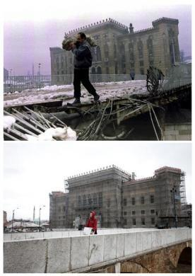 A man carries a bag of firewood across a destroyed bridge near the burnt library in Sarajevo, in this file picture taken January 1, 1994 and a man carries a box over the same bridge, now repaired, April 1, 2012, in this combination picture made April 4, 2012.