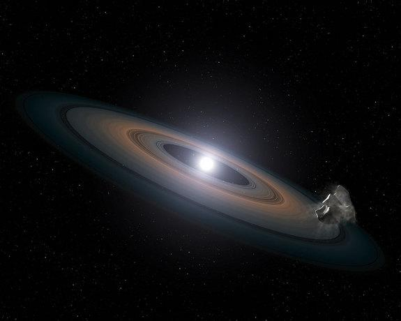 This illustration is an artist's impression of the thin, rocky debris disc discovered around the two Hyades white dwarfs.