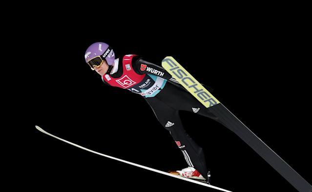 Ski Jumping World Cup - Men's HS134 Qualification - Holmenkollen, Oslo, Norway - March 9, 2018. Andreas Wellinger of Germany is seen during official training. NTB Scanpix/Terje Bendiksby via REUTERS ATTENTION EDITORS - THIS IMAGE WAS PROVIDED BY A THIRD PARTY. NORWAY OUT. NO COMMERCIAL OR EDITORIAL SALES IN NORWAY.