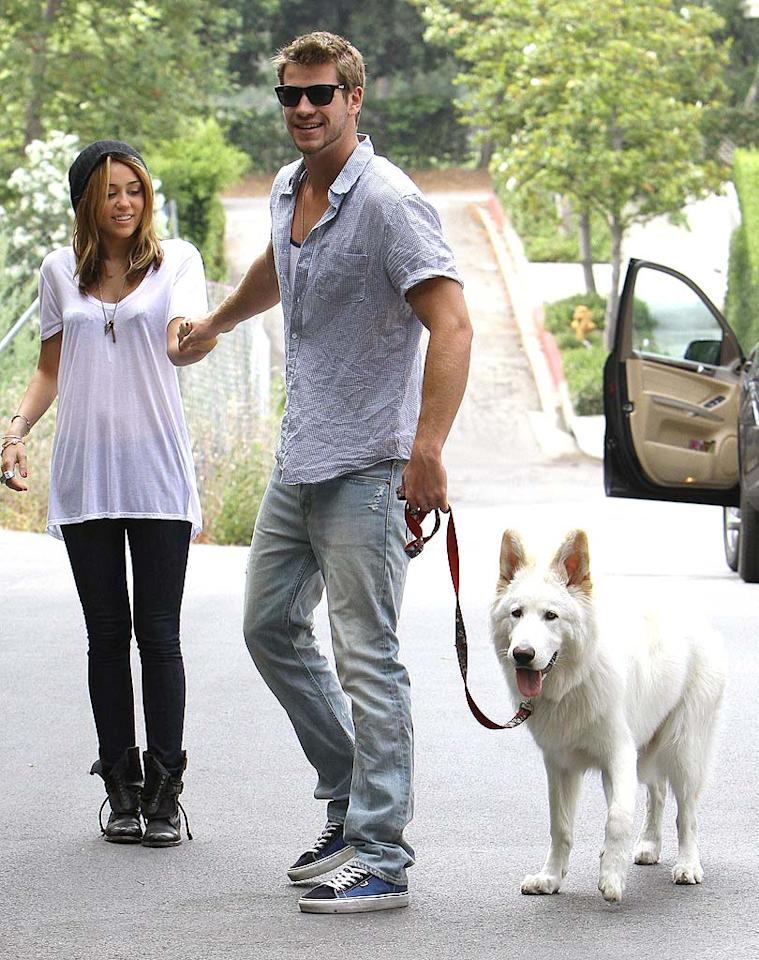 "The newest addition to Miley Cyrus' brood -- her German Shepherd Mate -- sure grew up fast! The dog's name was reportedly inspired by the teen queen's hunky boyfriend Liam Hemsworth's Australian roots. Fabio-ICE/<a href=""http://www.x17online.com"" target=""new"">X17 Online</a> - June 26, 2010"