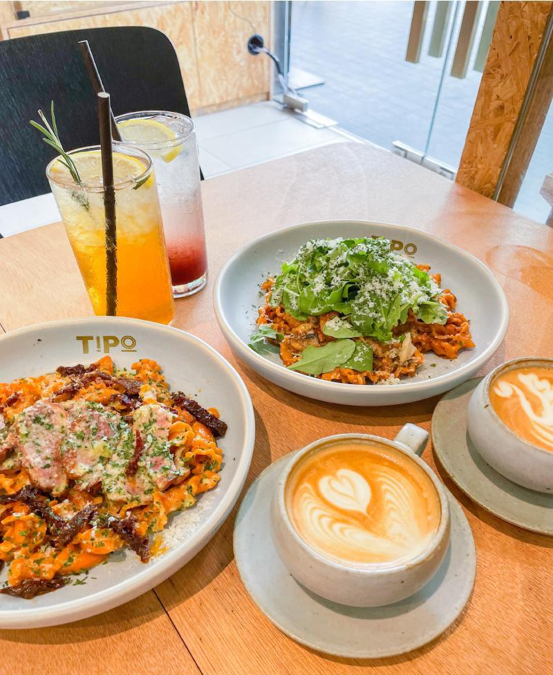 A shot of tipo strada's food and beverages