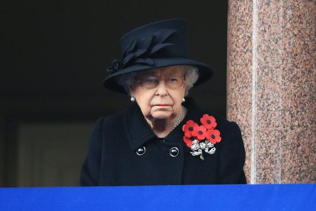 The Queen during the Remembrance Sunday service at the Cenotaph in Whitehall