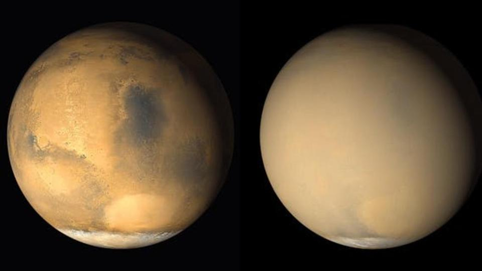 Mars before (left) and during (right) a dust storm. Image credit: NASA/JPL-Caltech/MSSS, CC BY
