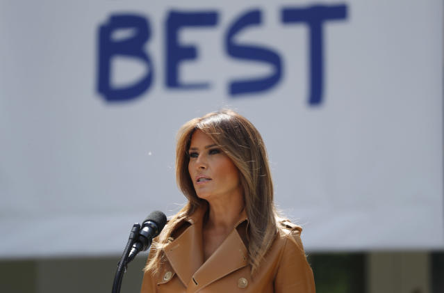 "U.S. first lady Melania Trump delivers remarks at the ""launch of her Be Best initiatives in the Rose Garden of the White House in Washington, U.S., May 7, 2018. (Photo: Kevin Lamarque/Reuters)"