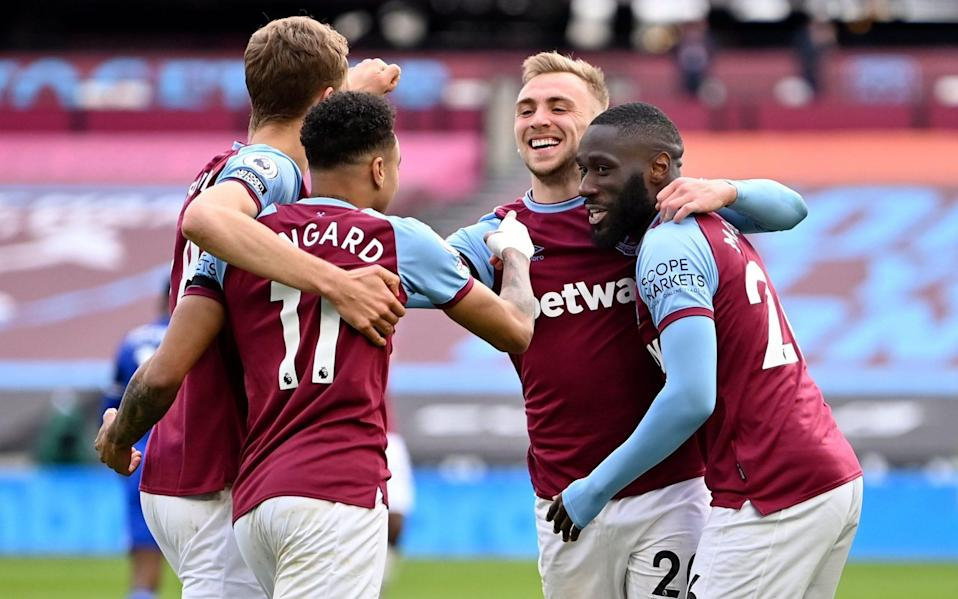 West Ham celebrate scoring a third goal against Leicester City in the Premier League at the London Stadium - Justin Setterfield/POOL/EPA-EFE/Shutterstock/Shutterstock
