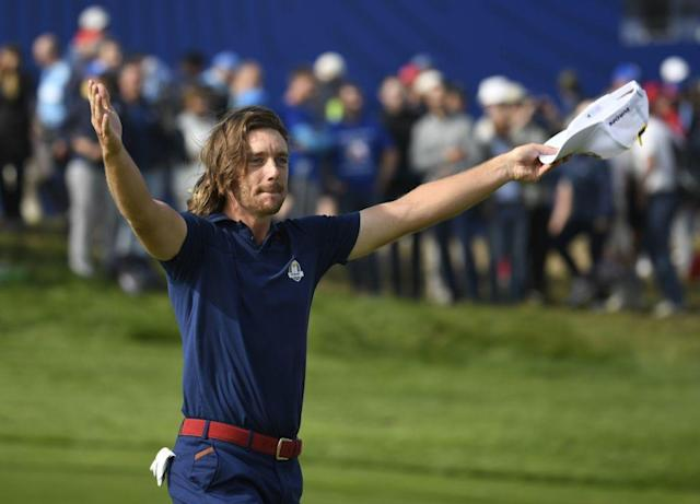 "Are you not entertained? <a class=""link rapid-noclick-resp"" href=""/pga/players/9934/"" data-ylk=""slk:Tommy Fleetwood"">Tommy Fleetwood</a> is. (Getty)"