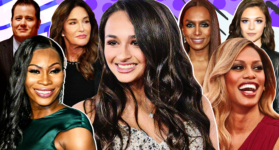 Transgender visibility has skyrocketed over the past decade, thanks, in large part, to pop culture figures. From left: Chaz Bono, Dominique Jackson, Caitlyn Jenner, Jazz Jennings, Janet Mock, Laverne Cox and Nicole Maines. (Photo collage by Quinn Lemmers for Yahoo Lifestyle; photos: Getty Images)