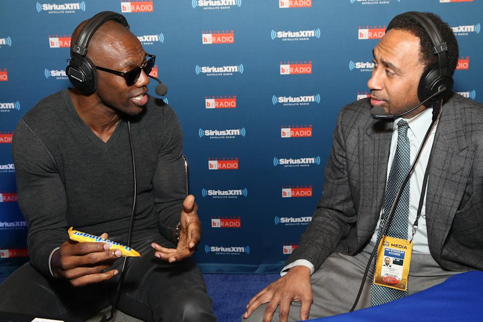 """IMAGE DISTRIBUTED FOR NESTLE BUTTERFINGER - Terrell Owens goes #BolderThanBold with Butterfinger on ESPN's """"Stephen A. Show"""" in San Francisco leading up to the Big Game on Thursday, Feb. 4, 2016. For more bold action with T.O., visit www.YouTube.com/Butterfinger. (Omar Vega/AP Images for Nestle Butterfinger)"""