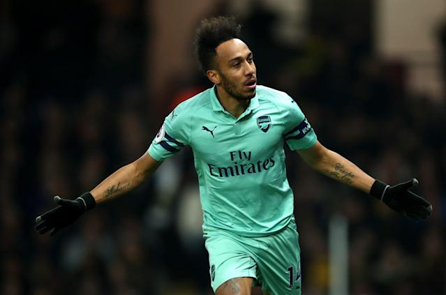 Pierre-Emerick Aubameyang of Arsenal celebrates scoring for Arsenal against Watford at Vicarage Road