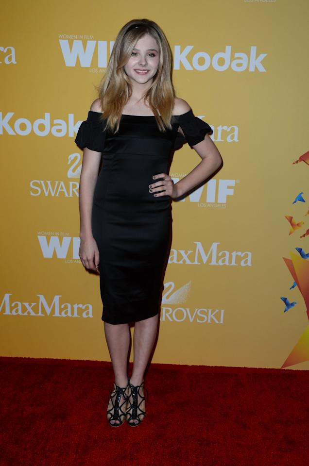BEVERLY HILLS, CA - JUNE 12:  Actress Chloe Grace Moretz arrives at the 2012 Women In Film Crystal + Lucy Awards at The Beverly Hilton Hotel on June 12, 2012 in Beverly Hills, California.  (Photo by Frazer Harrison/Getty Images)