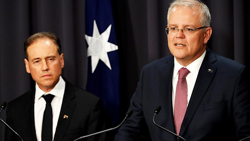 Greg Hunt and Scott Morrison, pictured here addressing the media about the coronavirus crisis.