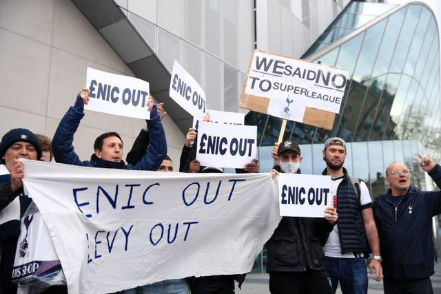 Tottenham fans protested against the club's owners after the European Super League farce