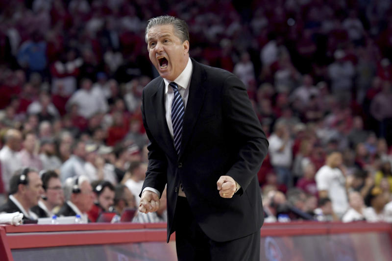 Kentucky head coach John Calipari reacts after a call against Arkansas during the second half of an NCAA college basketball game, Saturday, Jan. 18, 2020, in Fayetteville, Ark. (AP Photo/Michael Woods)