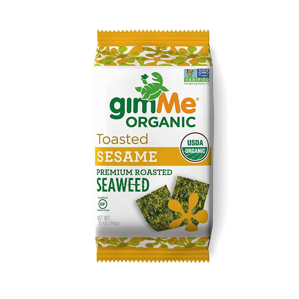 """<p>If you're craving chips, consider seaweed snacks instead—they travel just as well, but are much less likely to leave you feeling full and bloated. They go down like a chip, but are naturally low in calories and high in vitamins and minerals, including vitamin C, vitamin K, and iodine, says <a href=""""https://www.katescarlata.com/"""" rel=""""nofollow noopener"""" target=""""_blank"""" data-ylk=""""slk:Kate Scarlata"""" class=""""link rapid-noclick-resp"""">Kate Scarlata</a>, RDN, LDN.</p><p><a class=""""link rapid-noclick-resp"""" href=""""https://www.amazon.com/gimMe-Organic-Premium-Roasted-Gluten-Free/dp/B00BCG0OAC?th=1&tag=syn-yahoo-20&ascsubtag=%5Bartid%7C10072.g.27072697%5Bsrc%7Cyahoo-us"""" rel=""""nofollow noopener"""" target=""""_blank"""" data-ylk=""""slk:SHOP NOW"""">SHOP NOW</a></p>"""