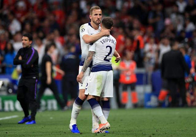 Tottenham Hotspur's Harry Kane commiserates with team-mate Kieran Trippier (Photo by Mike Egerton/PA Images via Getty Images)