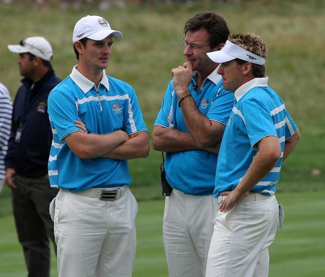 Nick Faldo (second right) talks to Ian Poulter (right) and Justin Rose (second left)