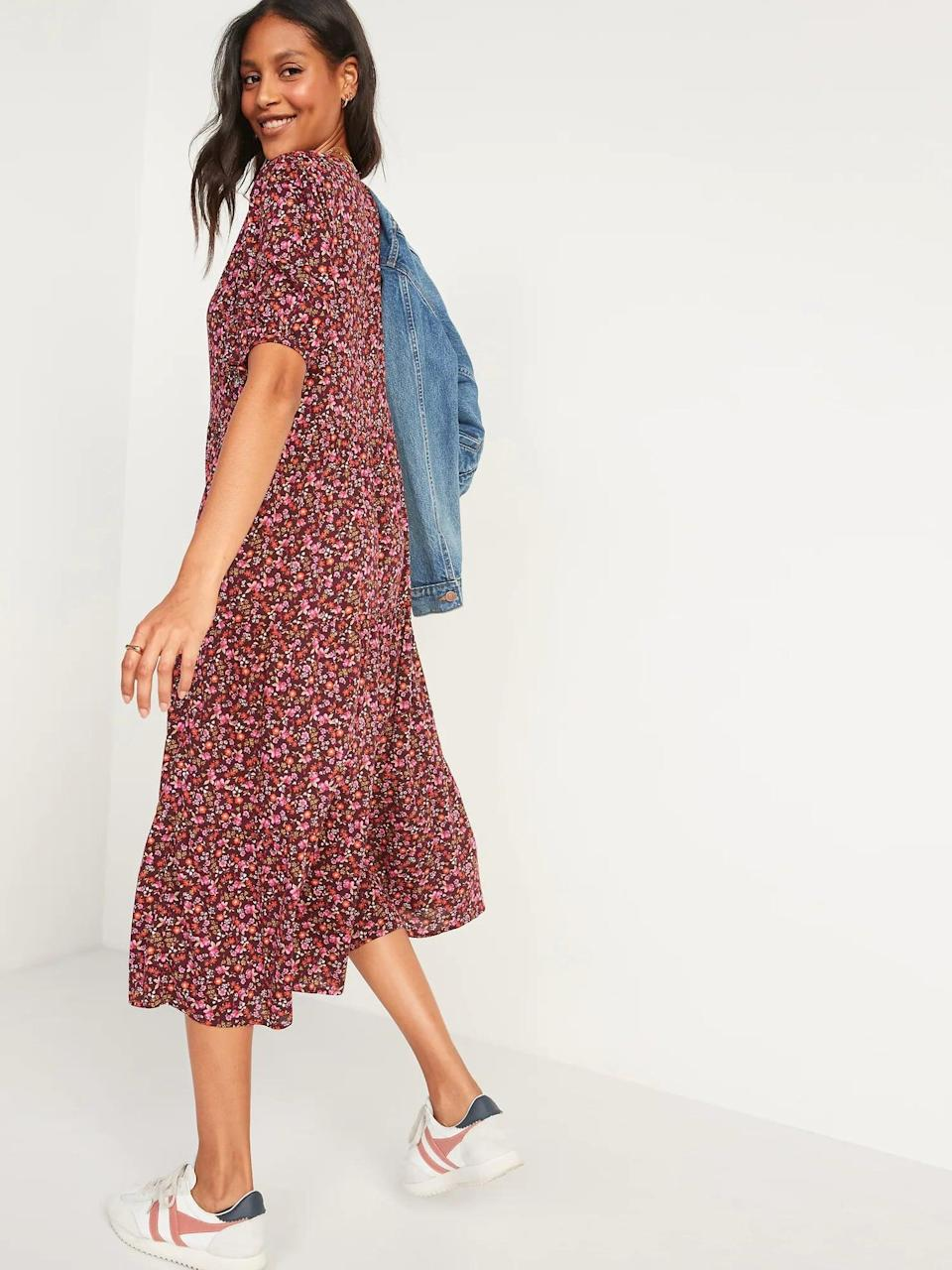 <p>Add a jean jacket to give this <span>Floral Puff-Sleeve Button-Front Midi Swing Dress for Women</span> ($45) a little edge. </p>