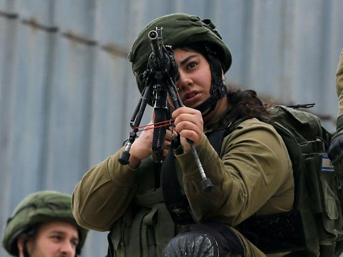 female Israeli soldier in Hebron in the Israeli-occupied West Bank February, 2020