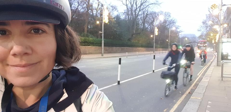 <p>School's in: Headteacher Emma Madden take a selfie as she cycles to work this morning</p>Emma Madden