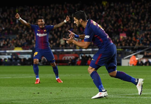 "<a class=""link rapid-noclick-resp"" href=""/soccer/players/luis-suárez"" data-ylk=""slk:Luis Suarez"">Luis Suarez</a> celebrates his equalizer for <a class=""link rapid-noclick-resp"" href=""/soccer/teams/barcelona/"" data-ylk=""slk:Barcelona"">Barcelona</a> against Alaves on Sunday. (Getty)"