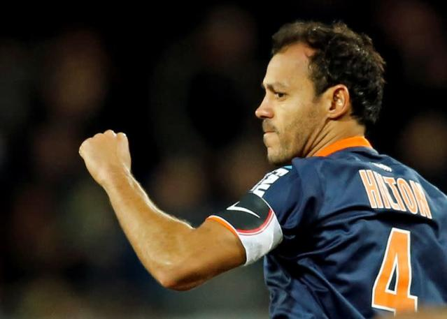 FILE PHOTO: Montpellier's Vitorino Hilton reacts after scoring v Monaco
