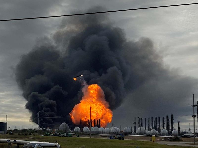 Flames are seen after a massive explosion that sparked a blaze at aTexas petrochemical plant: REUTERS