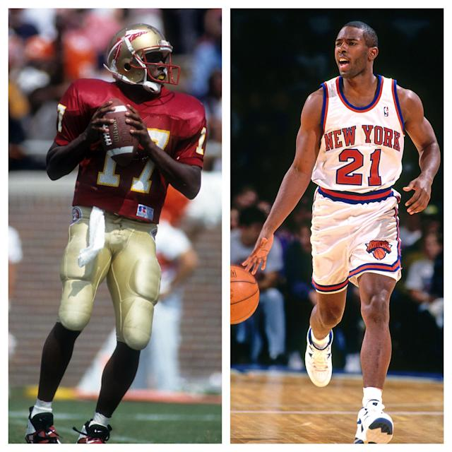 Charlie Ward at Florida State and New York. (Getty)