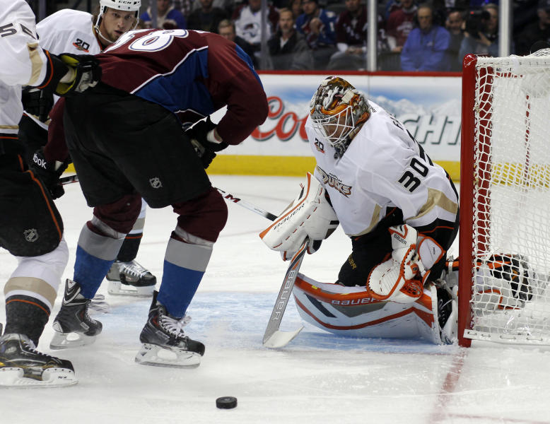 Colorado Avalanche left wing Patrick Bordeleau (58)has his shot blocked by Anaheim Ducks goalie Viktor Fasth, right, of Sweden, in the first period of an NHL hockey game in Denver, Wednesday, Oct. 2, 2013. (AP Photo/David Zalubowski)