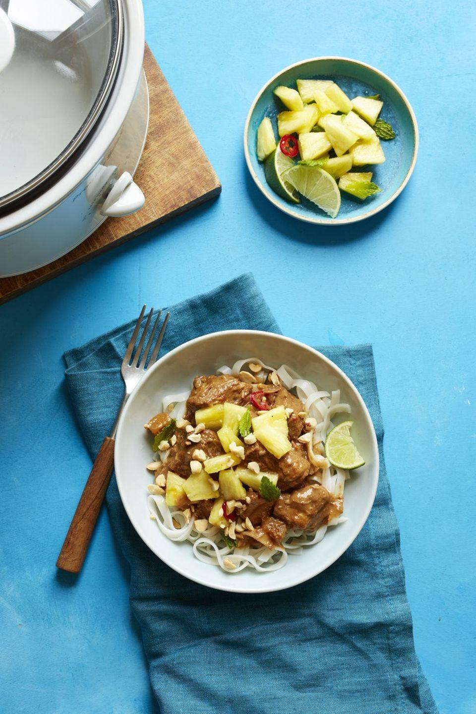 """<p>Thai-take out fans: You can rest your wallet and save some cash with this recipe. It may even be a healthier option if you make sure to grab the peanut butter without extra sugar and use coconut milk that doesn't have any harmful additives.</p><p><em><a href=""""https://www.womansday.com/food-recipes/food-drinks/recipes/a55755/thai-style-pork-with-rice-noodles-recipe/"""" rel=""""nofollow noopener"""" target=""""_blank"""" data-ylk=""""slk:Get the recipe from Woman's Day »"""" class=""""link rapid-noclick-resp"""">Get the recipe from Woman's Day »</a></em></p>"""