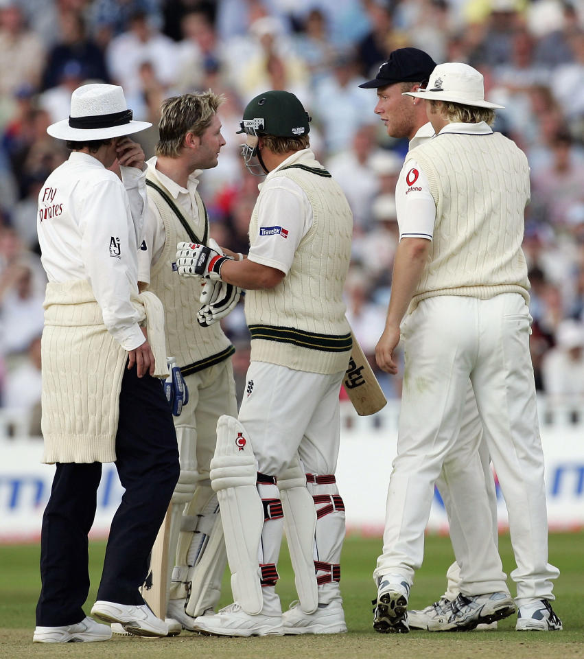BIRMINGHAM, UNITED KINGDOM - AUGUST 06:  Michael Clarke of Australia exchanges words with Andrew Flintoff of England during day three of the Second npower Ashes Test between England and Australia played at Edgbaston on August 6, 2005 in Birmingham, United Kingdom  (Photo by Hamish Blair/Getty Images)