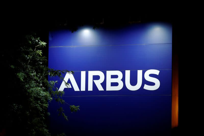 A logo of Airbus is seen at the entrance of its factory in Blagnac near Toulouse